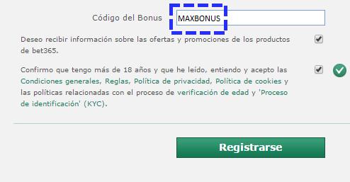 codigo del bonus: MAXBONUS