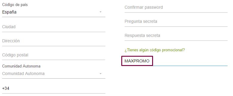 Código promocional MAXPROMO