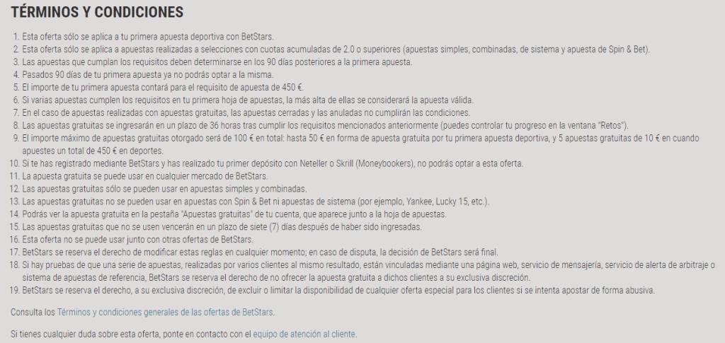 Condiciones y reglas para el uso del Betstars bonus