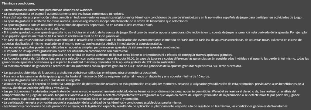 Términos y Condiciones Código Promocional Wanabet