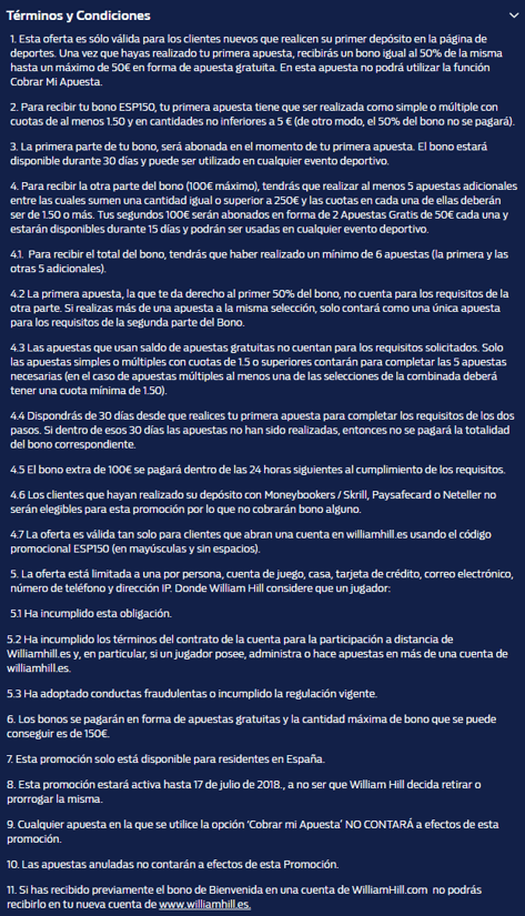 Términos y Condiciones Bono William Hill