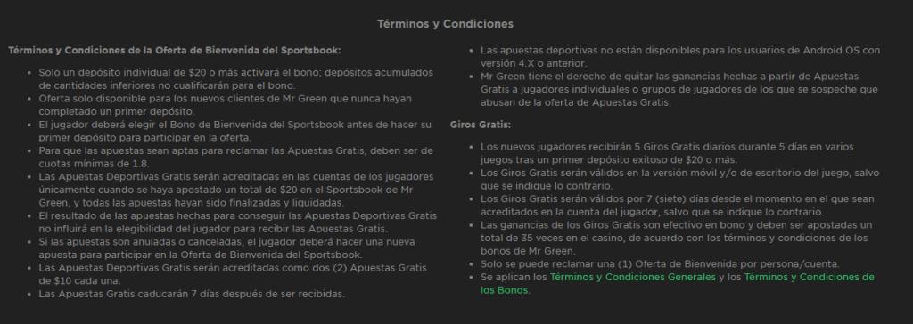 Términos y Condiciones Mr. Green