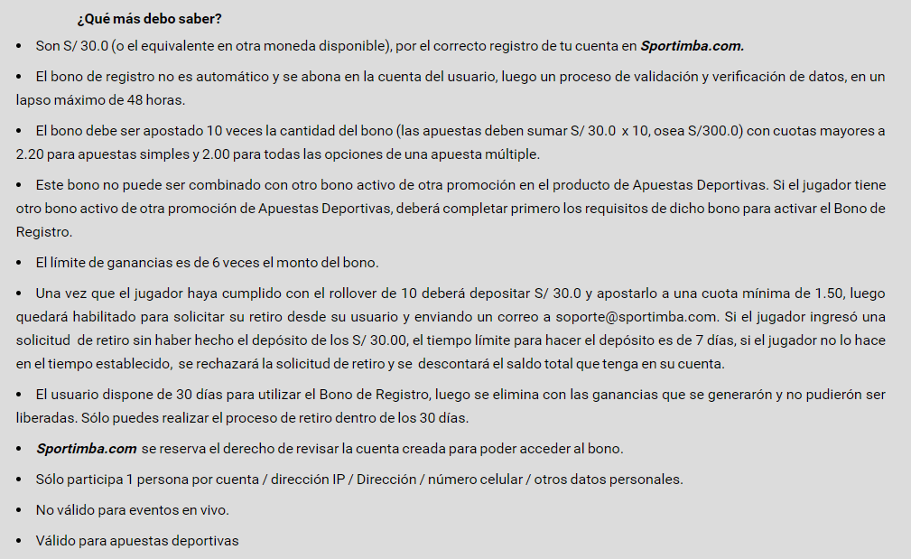 términos y condiciones código promocional Sportimba 1