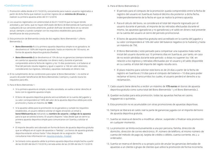 Términos y Condiciones del Código Promocional Suertia