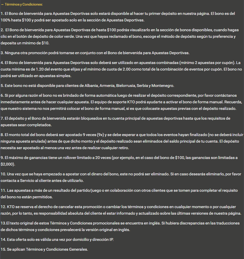Términos y Condiciones del Código Promocional KTO
