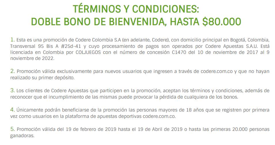 Condiciones del bono Codere
