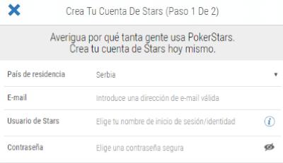Pokerstars Formulario de Registro