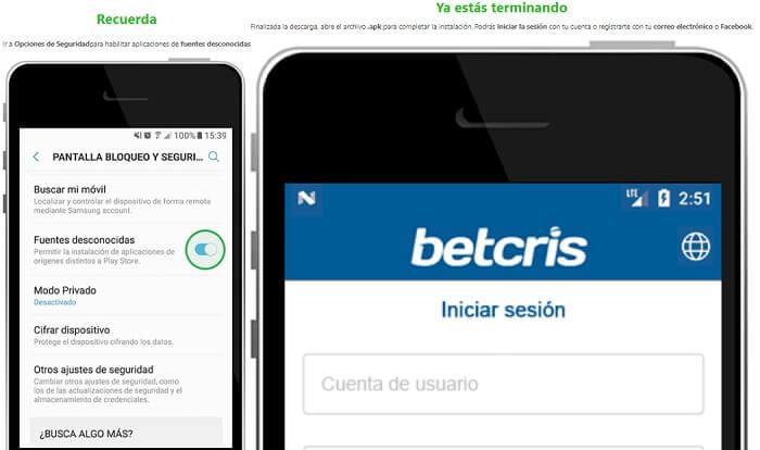 Betcris App Móvil